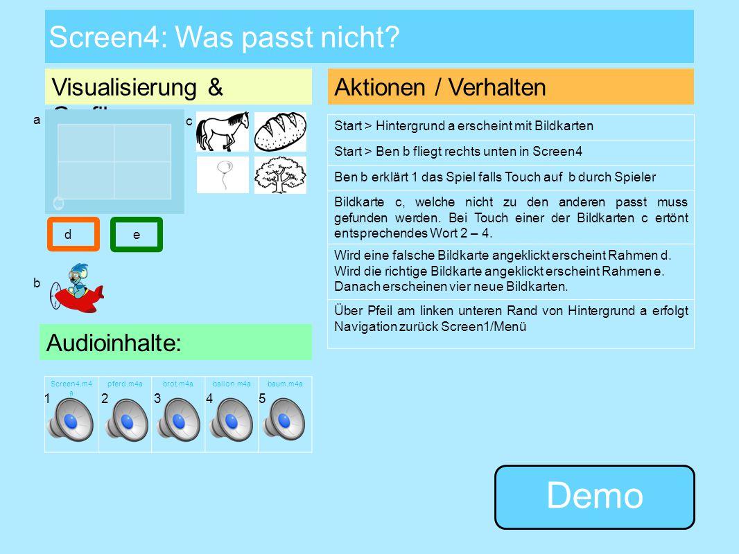 Screen3: Laut-Memory Visualisierung & Grafiken: P M I Q P MI Q Audioinhalte: Screen3. m4a pinguin. m4a maus.m 4a qualle.m 4a insel.m4 a pp.m4amm.m4aqq