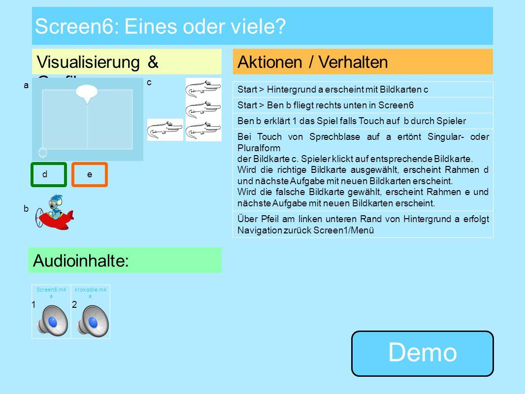 Visualisierung & Grafiken: Screen5: Was passt zusammen? Aktionen / Verhalten Start > Hintergrund a erscheint mit Bildkarten c Anhänger und Lastwagen g