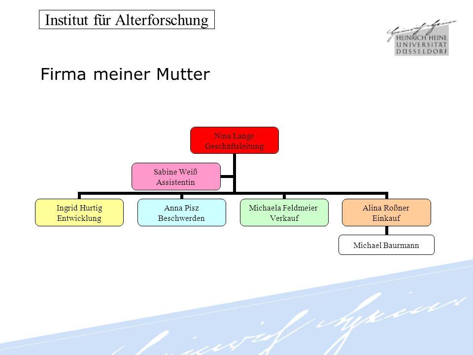 Institut für Alterforschung Firma meiner Mutter Nina Lange Geschäftsleitung Ingrid Hurtig Entwicklung Anna Pisz Beschwerden Michaela Feldmeier Verkauf
