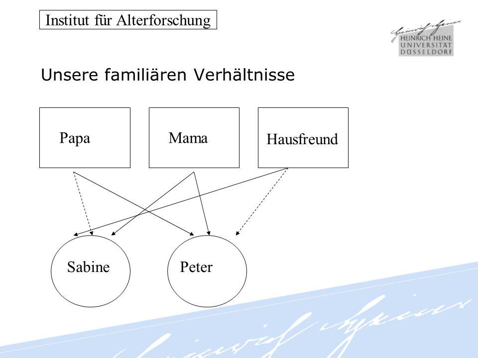 Institut für Alterforschung Unsere familiären Verhältnisse PapaMama Hausfreund SabinePeter