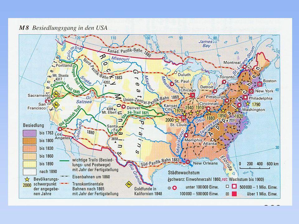 Bedeutung des Eisenbahnbaus – Central Pacific im Westen – Union Pacific im Osten 11869: erste Transkontinentalverbindung von Ost nach West LLeitli