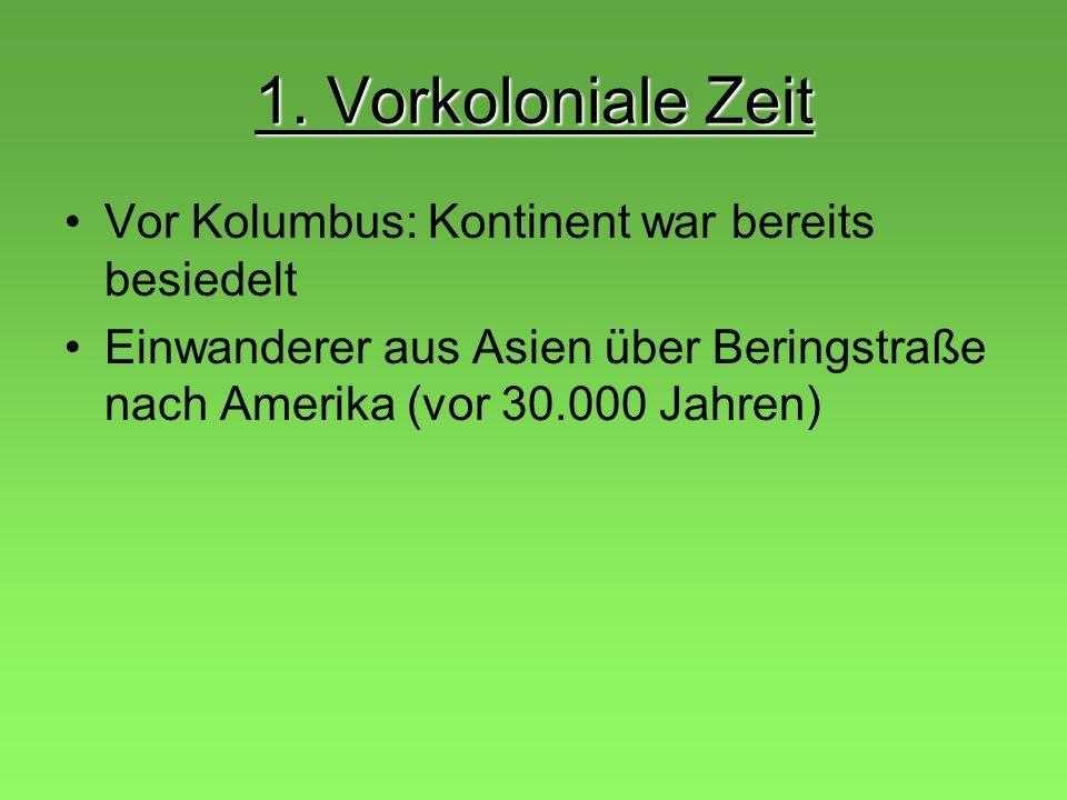 Gliederung 1. Vorkoloniale Zeit 2. Kolonialmächte 3. Erschließung nach 1776 4. Phasen der Einwanderung 5. Einzelaspekte der Besiedlung 6. Sklaverei in