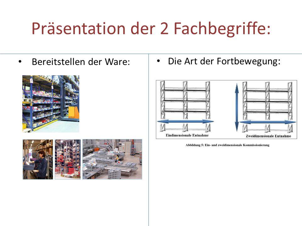 Präsentation der 2 Fachbegriffe: Bereitstellen der Ware: Die Art der Fortbewegung :