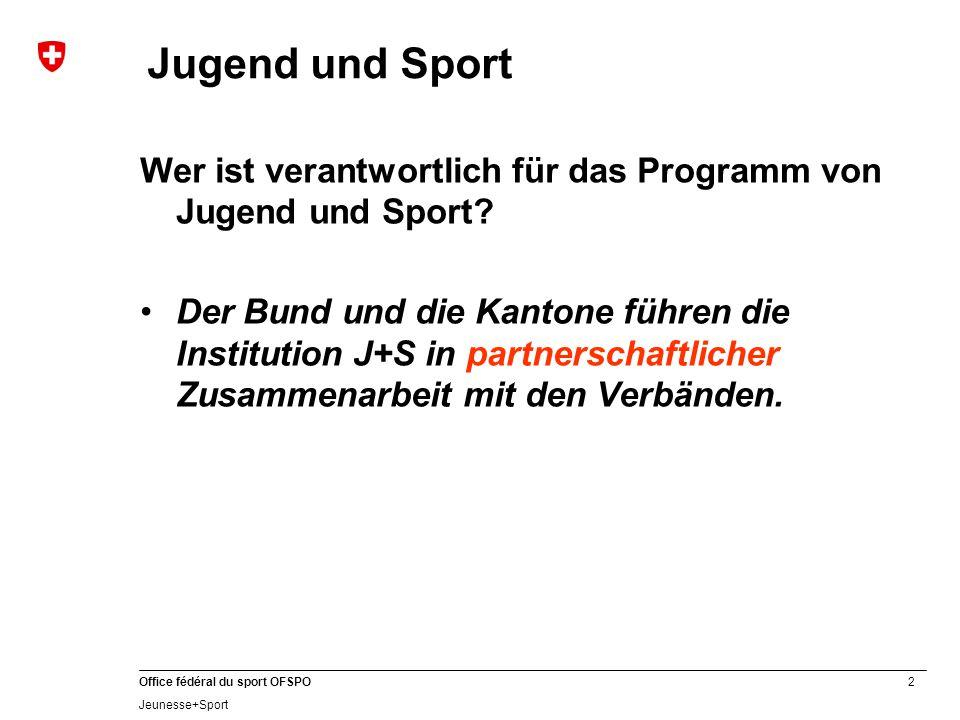 2 Office fédéral du sport OFSPO Jeunesse+Sport Jugend und Sport Wer ist verantwortlich für das Programm von Jugend und Sport.