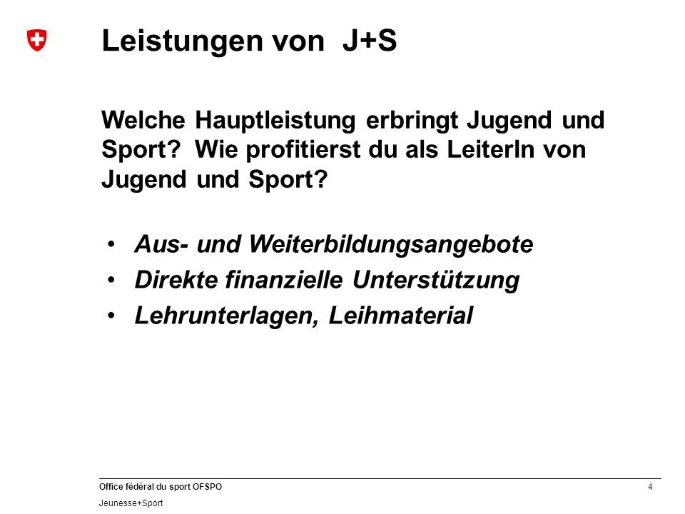 4 Office fédéral du sport OFSPO Jeunesse+Sport Leistungen von J+S Welche Hauptleistung erbringt Jugend und Sport.
