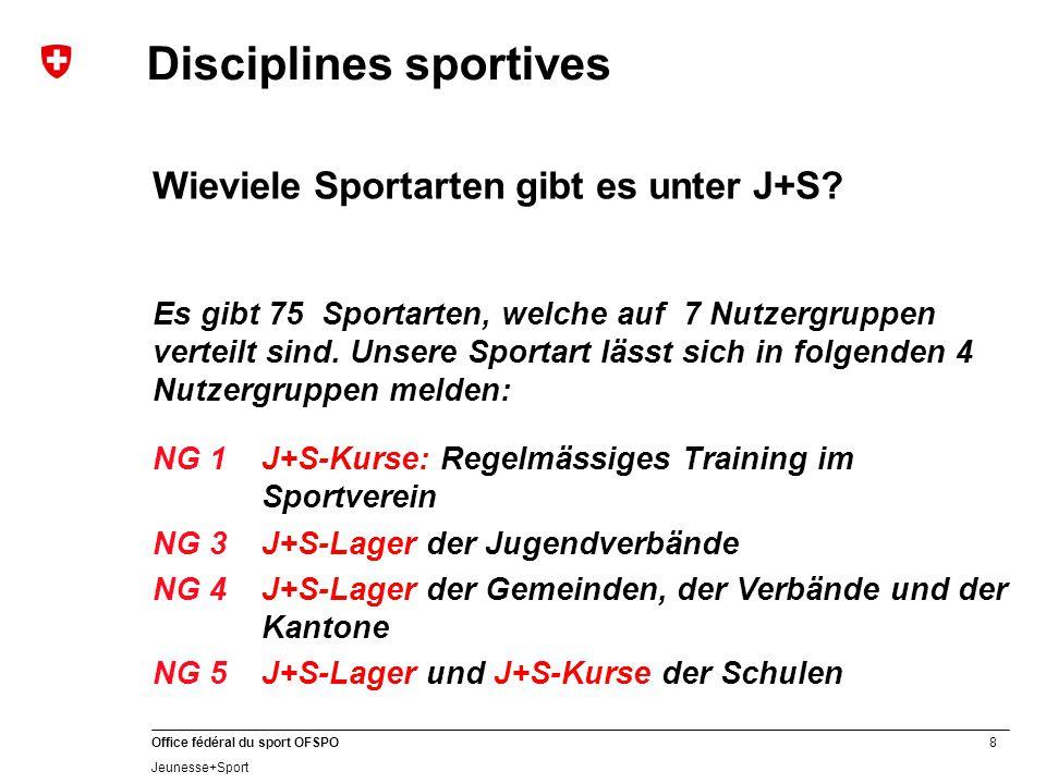 8 Office fédéral du sport OFSPO Jeunesse+Sport Disciplines sportives Es gibt 75 Sportarten, welche auf 7 Nutzergruppen verteilt sind.