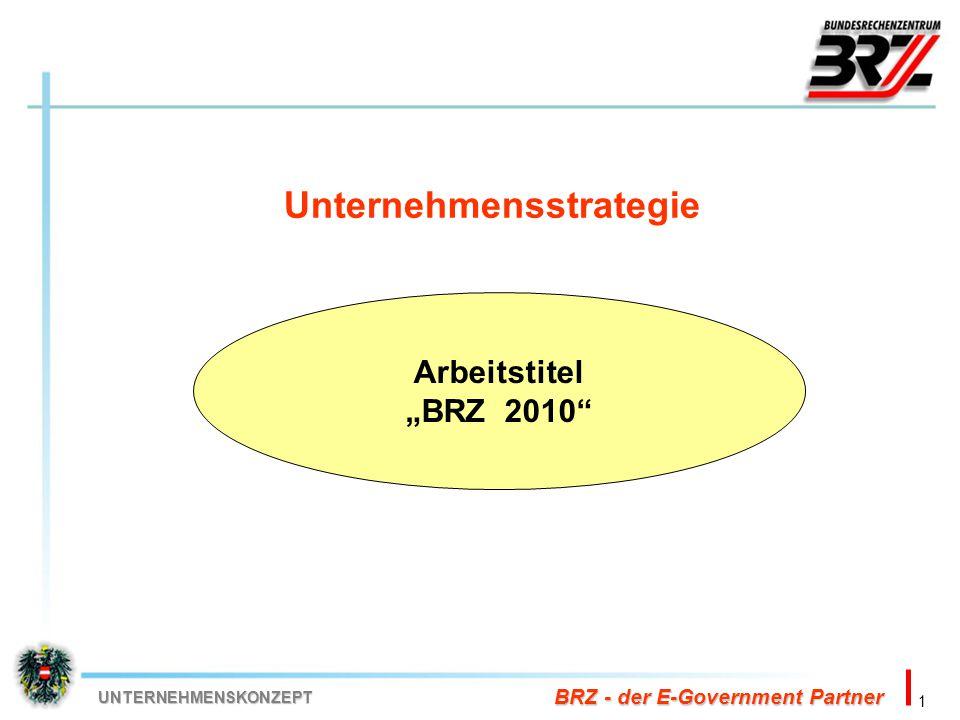 """1 BRZ - der E-Government Partner UNTERNEHMENSKONZEPT Unternehmensstrategie Arbeitstitel """"BRZ 2010"""""""