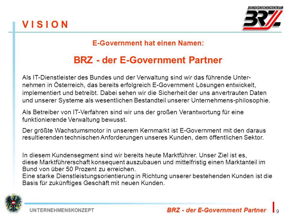 9 BRZ - der E-Government Partner UNTERNEHMENSKONZEPT V I S I O N E-Government hat einen Namen: BRZ - der E-Government Partner Als IT-Dienstleister des