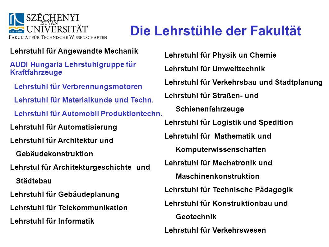 Die Lehrstühle der Fakultät Lehrstuhl für Angewandte Mechanik AUDI Hungaria Lehrstuhlgruppe für Kraftfahrzeuge Lehrstuhl für Verbrennungsmotoren Lehrs