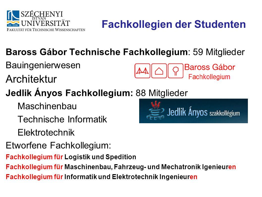 Fachkollegien der Studenten Baross Gábor Technische Fachkollegium: 59 Mitglieder Bauingenierwesen Architektur Jedlik Ányos Fachkollegium: 88 Mitgliede