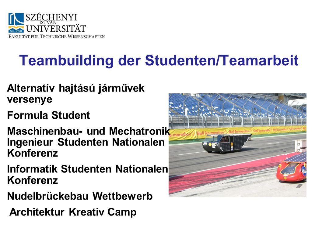 Teambuilding der Studenten/Teamarbeit Alternatív hajtású járművek versenye Formula Student Maschinenbau- und Mechatronik Ingenieur Studenten Nationale