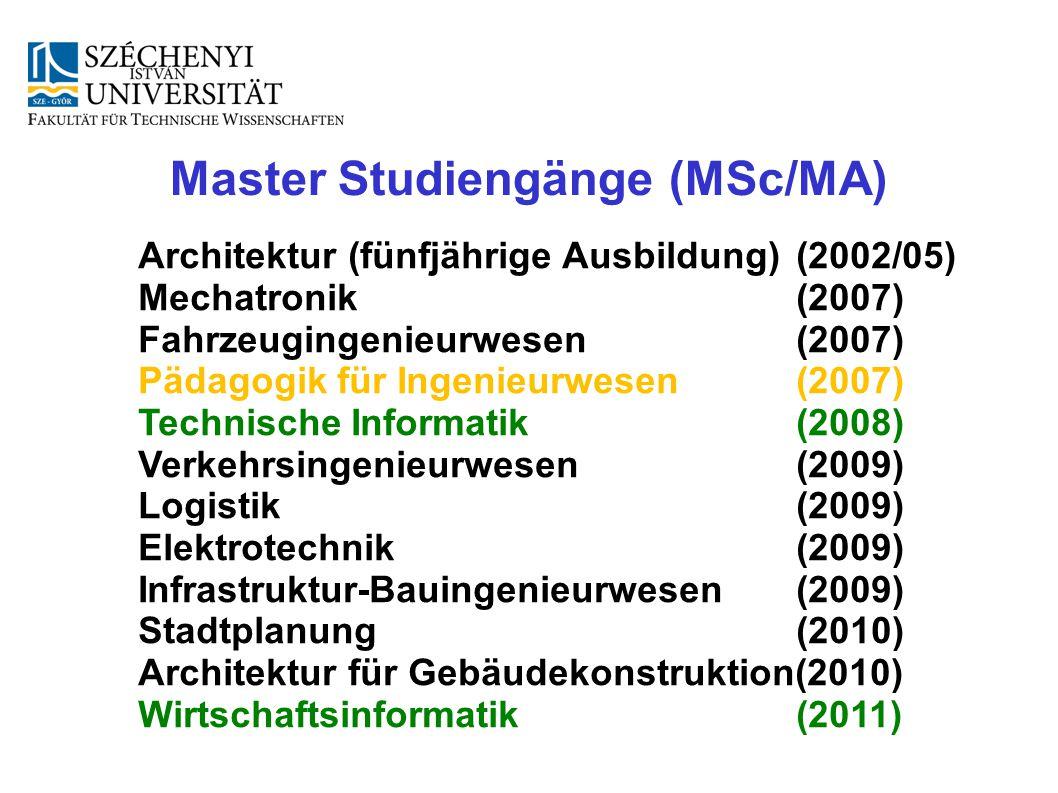 Master Studiengänge (MSc/MA) Architektur (fünfjährige Ausbildung) (2002/05) Mechatronik (2007) Fahrzeugingenieurwesen (2007) Pädagogik für Ingenieur
