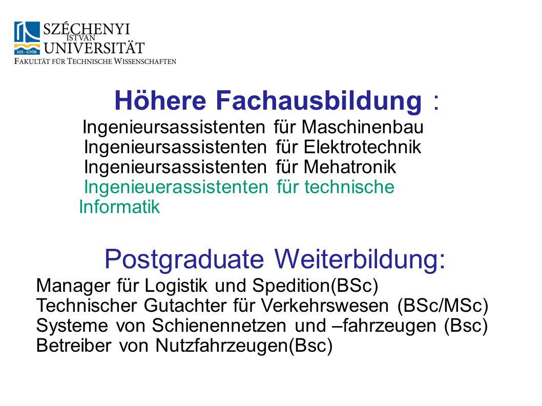 Höhere Fachausbildung : Ingenieursassistenten für Maschinenbau Ingenieursassistenten für Elektrotechnik Ingenieursassistenten für Mehatronik Ingenieue
