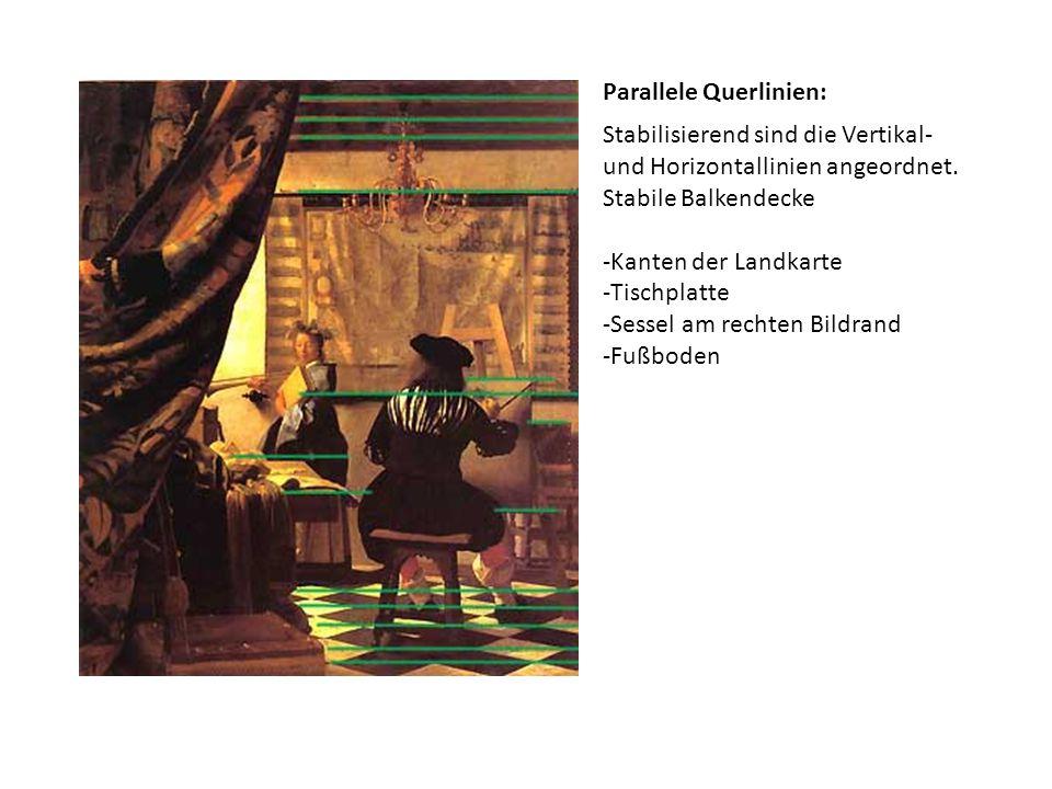 Parallele Querlinien: Stabilisierend sind die Vertikal- und Horizontallinien angeordnet. Stabile Balkendecke -Kanten der Landkarte -Tischplatte -Sesse
