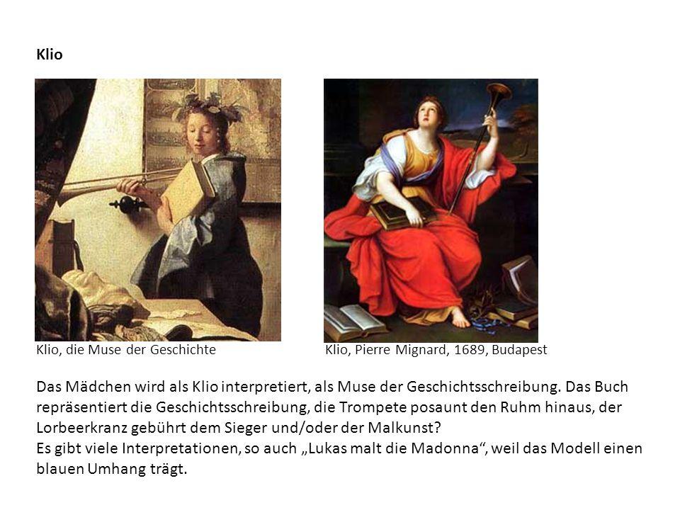 Klio Das Mädchen wird als Klio interpretiert, als Muse der Geschichtsschreibung. Das Buch repräsentiert die Geschichtsschreibung, die Trompete posaunt