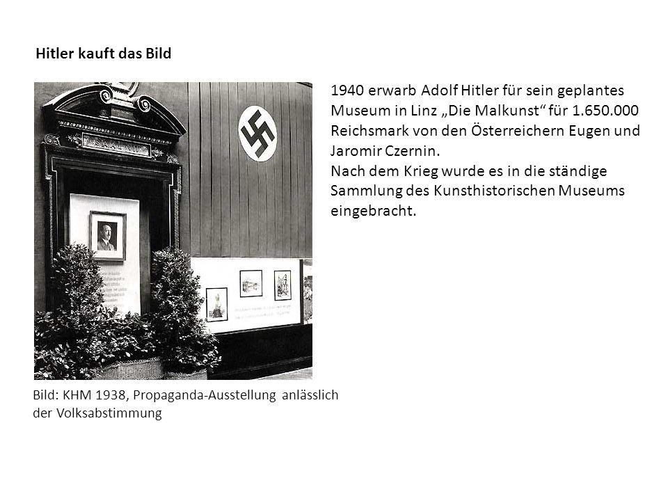 """Hitler kauft das Bild 1940 erwarb Adolf Hitler für sein geplantes Museum in Linz """"Die Malkunst"""" für 1.650.000 Reichsmark von den Österreichern Eugen u"""