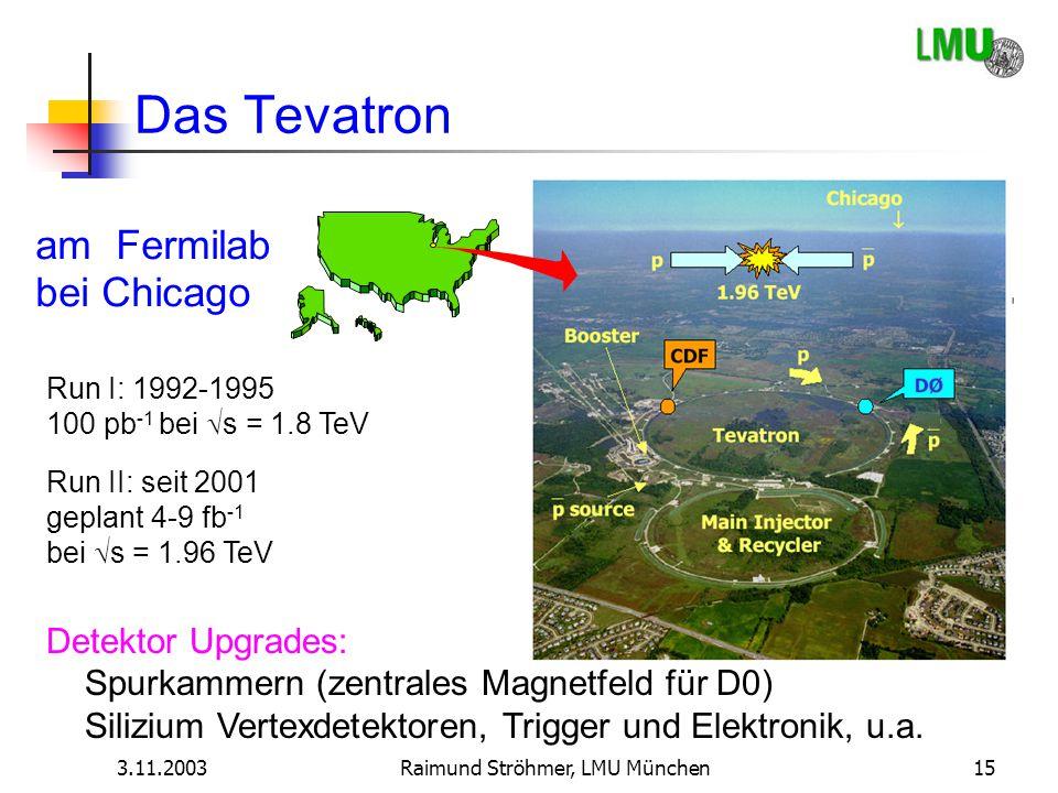 3.11.2003Raimund Ströhmer, LMU München15 Das Tevatron am Fermilab bei Chicago Run I: 1992-1995 100 pb -1 bei  s = 1.8 TeV Run II: seit 2001 geplant 4