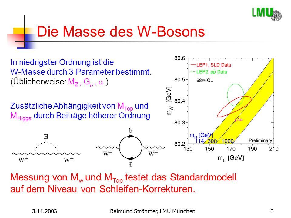 3.11.2003Raimund Ströhmer, LMU München3 Die Masse des W-Bosons In niedrigster Ordnung ist die W-Masse durch 3 Parameter bestimmt. (Üblicherweise: M Z,