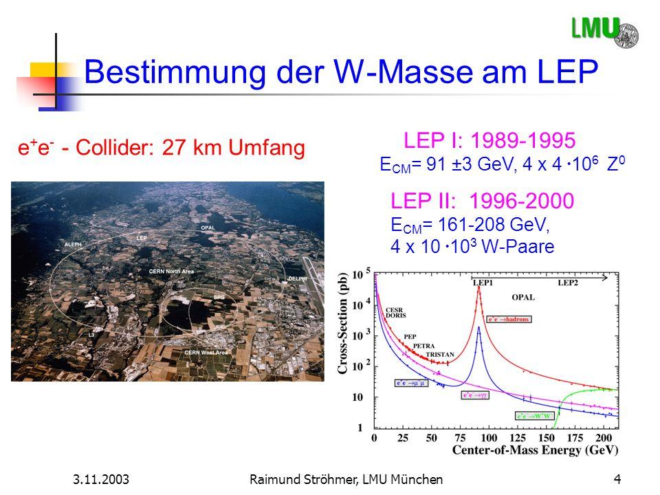 3.11.2003Raimund Ströhmer, LMU München4 Bestimmung der W-Masse am LEP e + e - - Collider: 27 km Umfang LEP I: 1989-1995 E CM = 91 ±3 GeV, 4 x 4  10 6