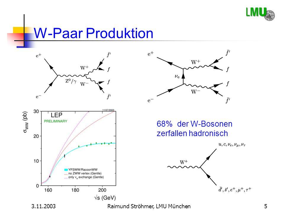 3.11.2003Raimund Ströhmer, LMU München5 W-Paar Produktion 68% der W-Bosonen zerfallen hadronisch