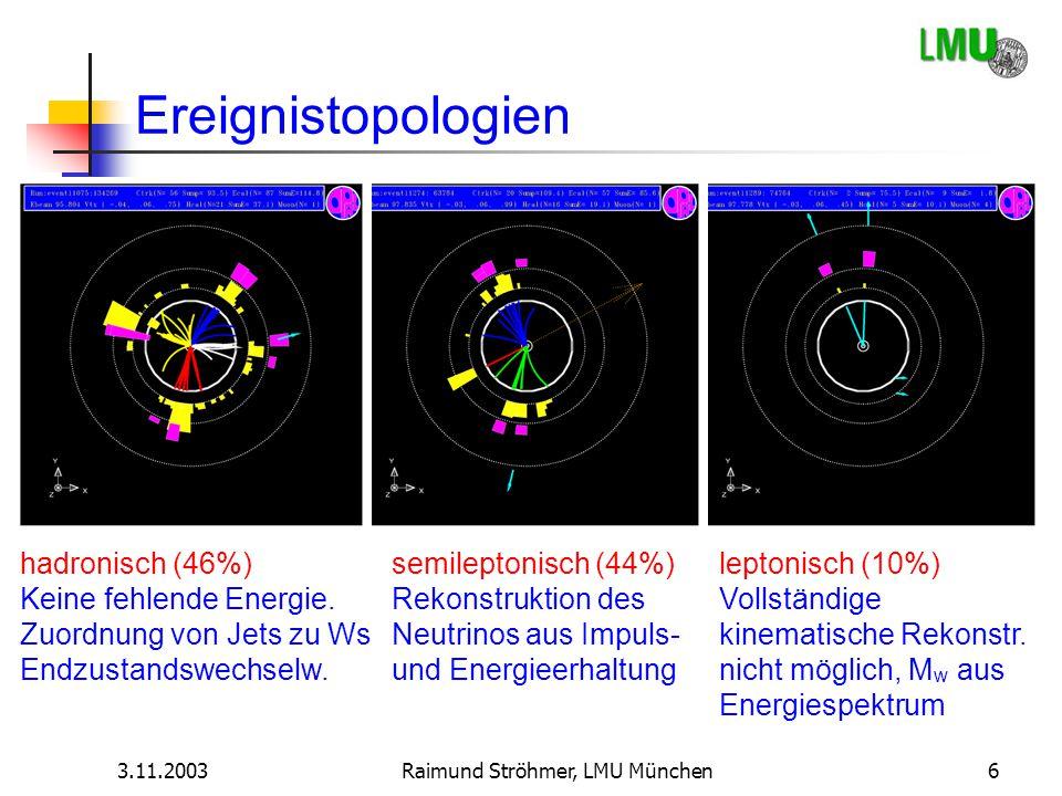 3.11.2003Raimund Ströhmer, LMU München6 Ereignistopologien hadronisch (46%) Keine fehlende Energie. Zuordnung von Jets zu Ws Endzustandswechselw. semi
