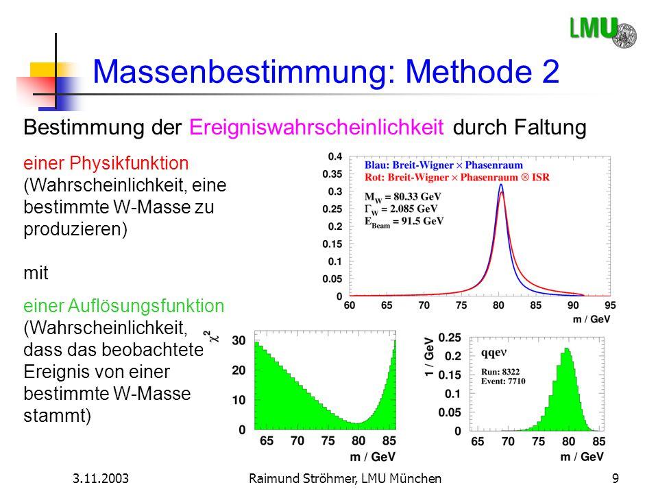 3.11.2003Raimund Ströhmer, LMU München9 Massenbestimmung: Methode 2 Bestimmung der Ereigniswahrscheinlichkeit durch Faltung einer Auflösungsfunktion (