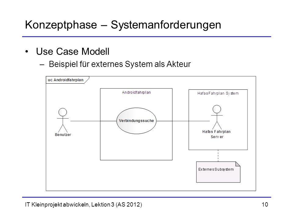 Konzeptphase – Systemanforderungen Use Case Modell –Beispiel für externes System als Akteur IT Kleinprojekt abwickeln, Lektion 3 (AS 2012)10