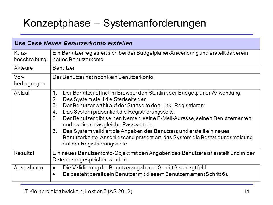 IT Kleinprojekt abwickeln, Lektion 3 (AS 2012)11 Konzeptphase – Systemanforderungen Use Case Neues Benutzerkonto erstellen Kurz- beschreibung Ein Benu