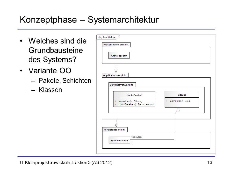 IT Kleinprojekt abwickeln, Lektion 3 (AS 2012)13 Konzeptphase – Systemarchitektur Welches sind die Grundbausteine des Systems? Variante OO –Pakete, Sc