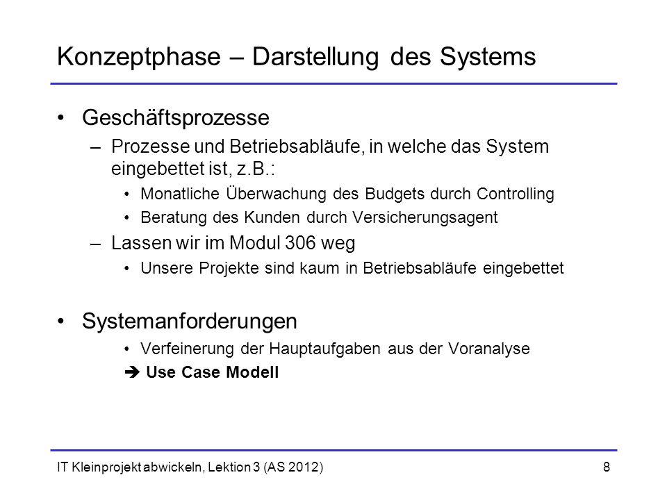 IT Kleinprojekt abwickeln, Lektion 3 (AS 2012)8 Konzeptphase – Darstellung des Systems Geschäftsprozesse –Prozesse und Betriebsabläufe, in welche das