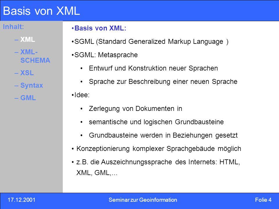 17.12.2001Seminar zur Geoinformation Folie 15 Inhalt: Eins –Zwei –Drei XML-Schema XML-Schema: Sprachdefinition Zuordnung eines Variablentyps Inhalt: –XML –XML- SCHEMA –XLS –Syntax –GML