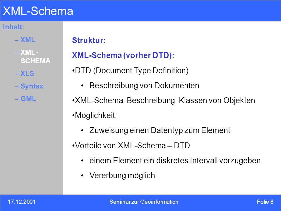 17.12.2001Seminar zur Geoinformation Folie 19 Inhalt: Eins –Zwei –Drei OGC-Simple features Bereitgestellte Geometrie Klassen(OGC simple Features): im Geometrie-Schema Formaler Name:Element einer Basisklassen Pointlocation, position, centerOf LineStringcenterLineOf, edgeOf LinearRing PolygonextentOf, coverage MultiPoint MultiLineString MultiPolygon MultiGeomtry Inhalt: –XML –XML- SCHEMA –XLS –Syntax –GML