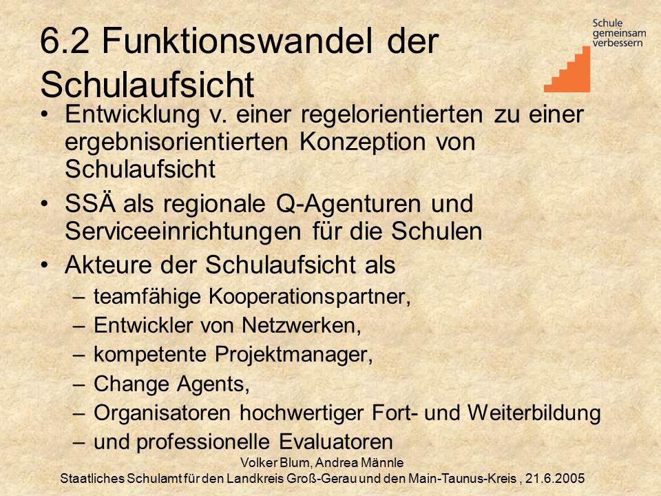 Volker Blum, Andrea Männle Staatliches Schulamt für den Landkreis Groß-Gerau und den Main-Taunus-Kreis, 21.6.2005 6.2 Funktionswandel der Schulaufsicht Entwicklung v.