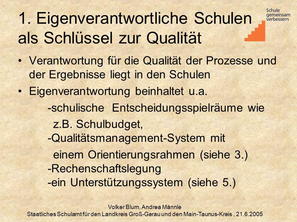 Volker Blum, Andrea Männle Staatliches Schulamt für den Landkreis Groß-Gerau und den Main-Taunus-Kreis, 21.6.2005 1.