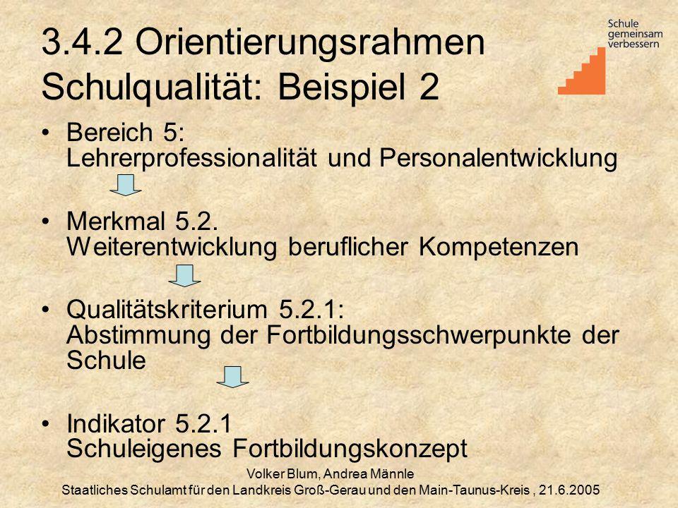 Volker Blum, Andrea Männle Staatliches Schulamt für den Landkreis Groß-Gerau und den Main-Taunus-Kreis, 21.6.2005 3.4.2 Orientierungsrahmen Schulqualität: Beispiel 2 Bereich 5: Lehrerprofessionalität und Personalentwicklung Merkmal 5.2.