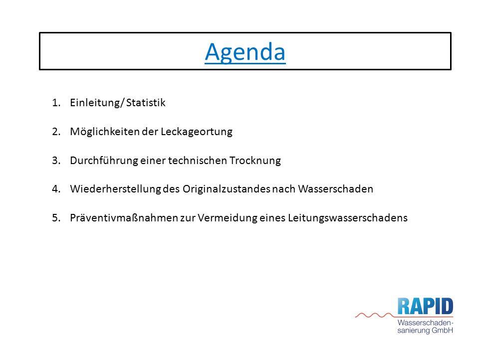 Agenda 1.Einleitung/ Statistik 2.Möglichkeiten der Leckageortung 3.Durchführung einer technischen Trocknung 4.Wiederherstellung des Originalzustandes