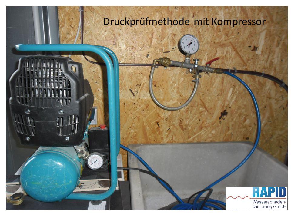 Druckprüfmethode mit Kompressor
