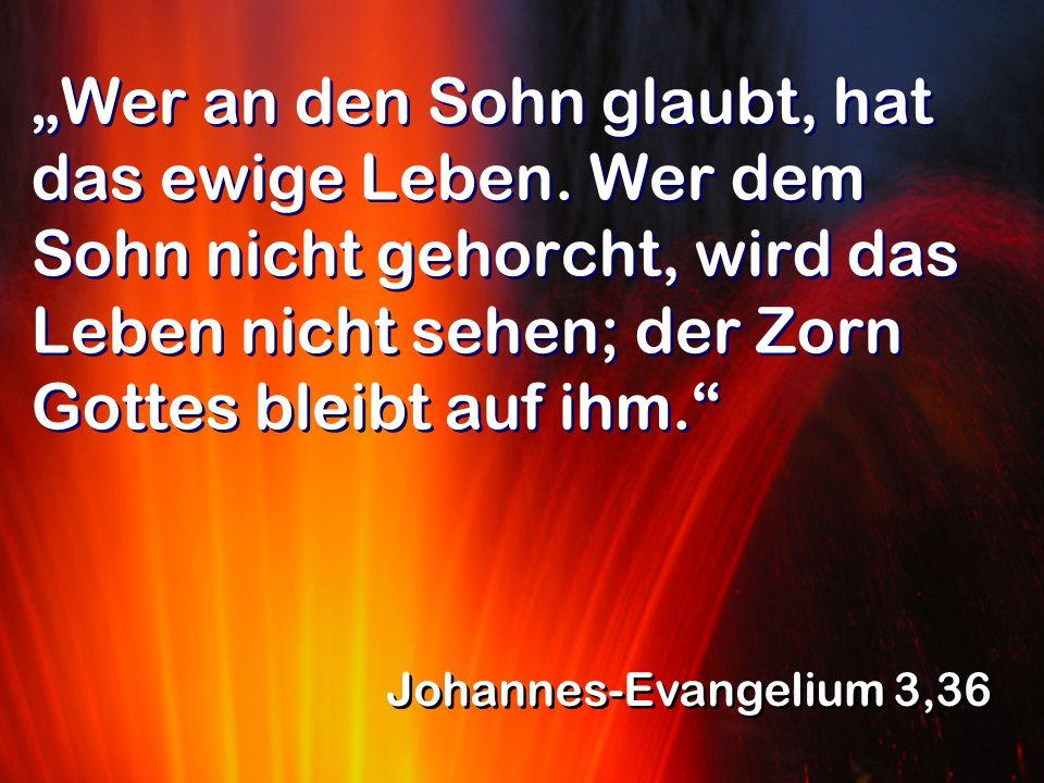 """""""Wer an den Sohn glaubt, hat das ewige Leben. Wer dem Sohn nicht gehorcht, wird das Leben nicht sehen; der Zorn Gottes bleibt auf ihm."""" Johannes-Evang"""