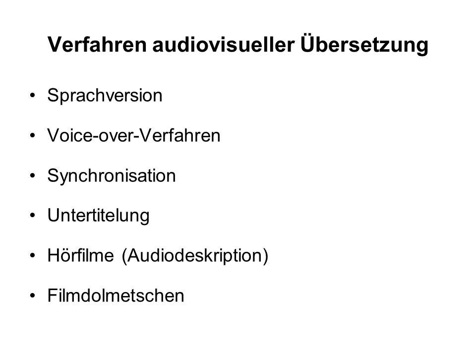 Verfahren audiovisueller Übersetzung Sprachversion Voice-over-Verfahren Synchronisation Untertitelung Hörfilme (Audiodeskription) Filmdolmetschen