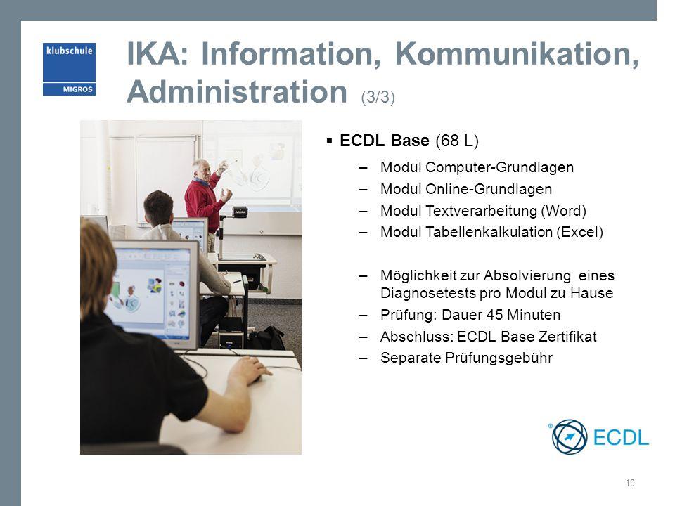 IKA: Information, Kommunikation, Administration (3/3)  ECDL Base (68 L) – Modul Computer-Grundlagen – Modul Online-Grundlagen – Modul Textverarbeitun