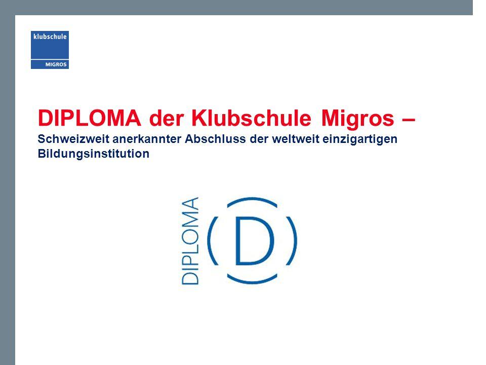 DIPLOMA der Klubschule Migros – Schweizweit anerkannter Abschluss der weltweit einzigartigen Bildungsinstitution