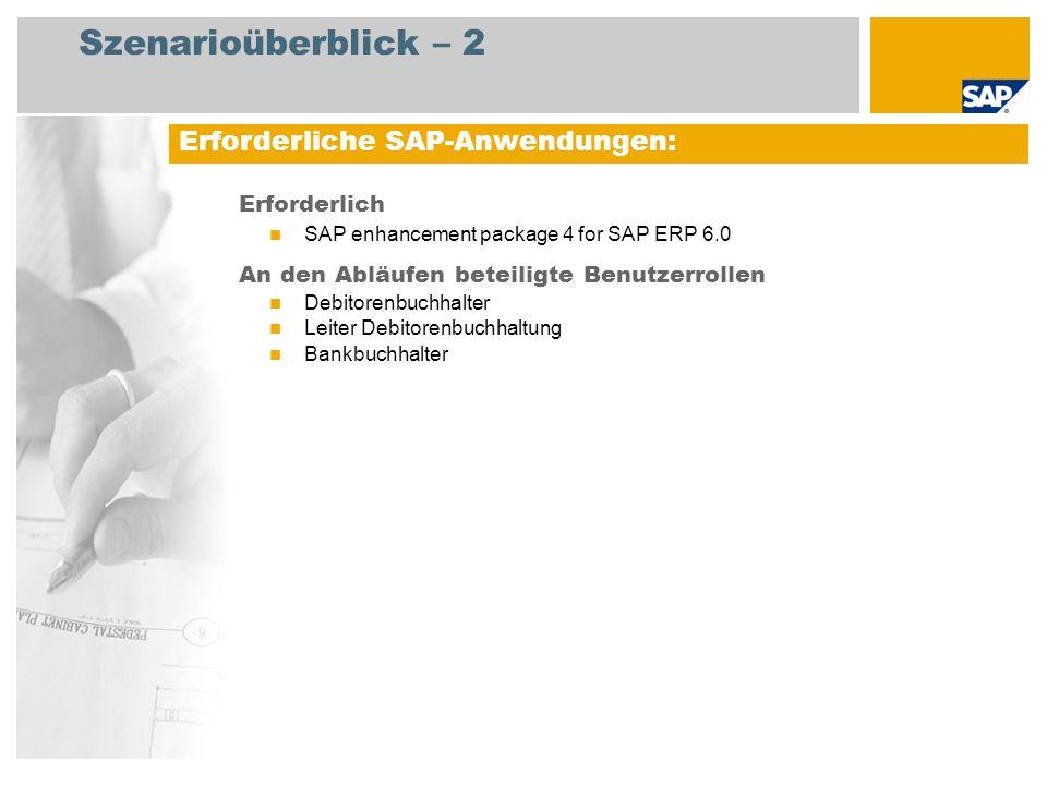 Szenarioüberblick – 2 Erforderlich SAP enhancement package 4 for SAP ERP 6.0 An den Abläufen beteiligte Benutzerrollen Debitorenbuchhalter Leiter Debi