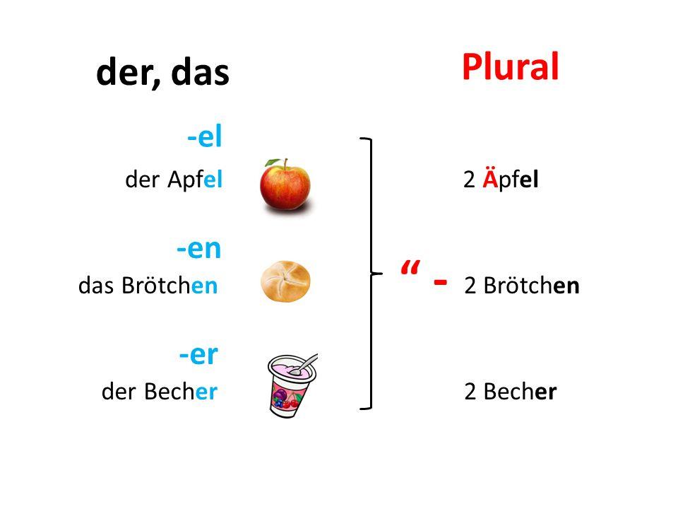 -el -en -er der Apfel das Brötchen der Becher - 2 Äpfel 2 Brötchen 2 Becher der, das Plural h