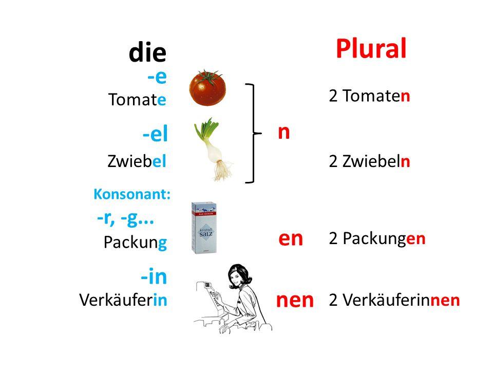 -e Tomate Packung Verkäuferin 2 Tomaten 2 Zwiebeln 2 Verkäuferinnen die Plural Zwiebel -el 2 Packungen Konsonant: -r, -g...
