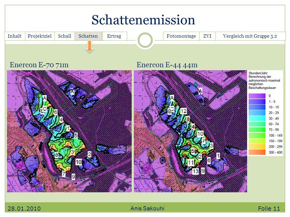 Schattenemission Anis Sakouhi InhaltGanttchartSchall Schatten ErtragFotomontageZVIVergleich mit Gruppe 3.2Projektziel Enercon E-70 71mEnercon E-44 44m