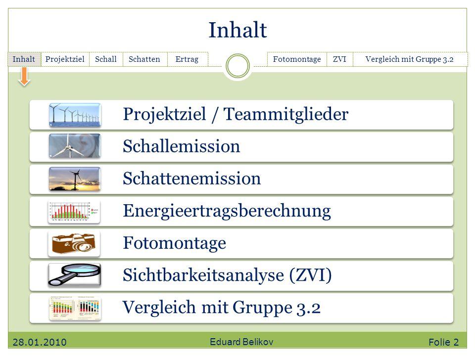 Projektziel / Teammitglieder Schallemission Schattenemission Energieertragsberechnung Fotomontage Sichtbarkeitsanalyse (ZVI) Vergleich mit Gruppe 3.2
