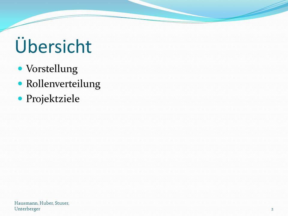 Übersicht Vorstellung Rollenverteilung Projektziele Hausmann, Huber, Stuxer, Unterberger2