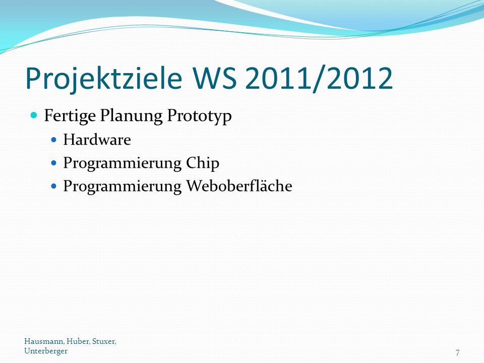 Projektziele WS 2011/2012 Fertige Planung Prototyp Hardware Programmierung Chip Programmierung Weboberfläche Hausmann, Huber, Stuxer, Unterberger7