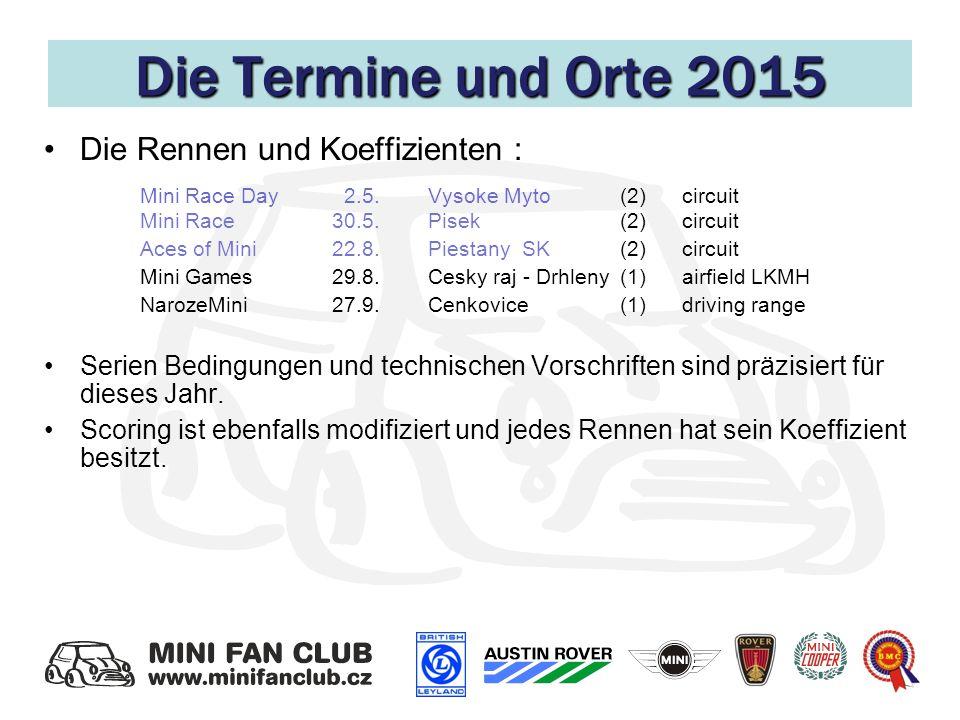 Die Termine und Orte 2015 Die Rennen und Koeffizienten : Mini Race Day 2.5.Vysoke Myto(2) circuit Mini Race 30.5.Pisek (2) circuit Aces of Mini 22.8.