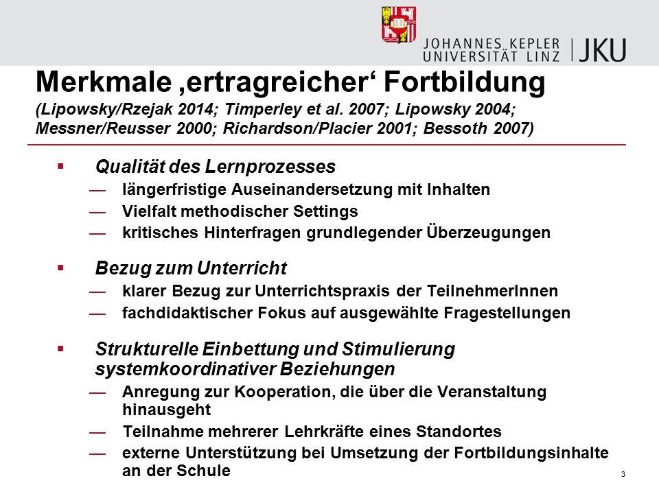 3 Merkmale 'ertragreicher' Fortbildung (Lipowsky/Rzejak 2014; Timperley et al.